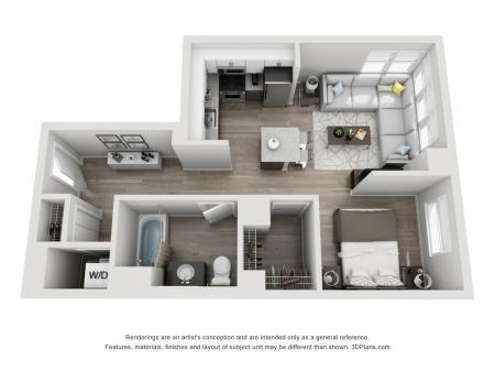1 Bed 1 Bath Floor Plan Unit 4