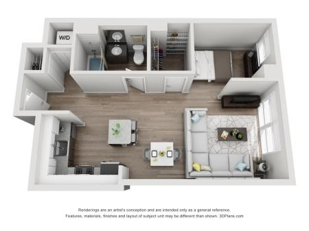 1 Bed 1 Bath Floor Plan Unit 5