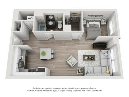 1 Bed 1 Bath Floor Plan Unit 8