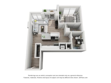1 Bed 1 Bath Floor Plan Unit 10