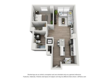 1 Bed 1 Bath Floor Plan Unit 11