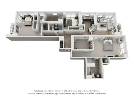3 Bed 2 Bath Floor Plan Unit 12