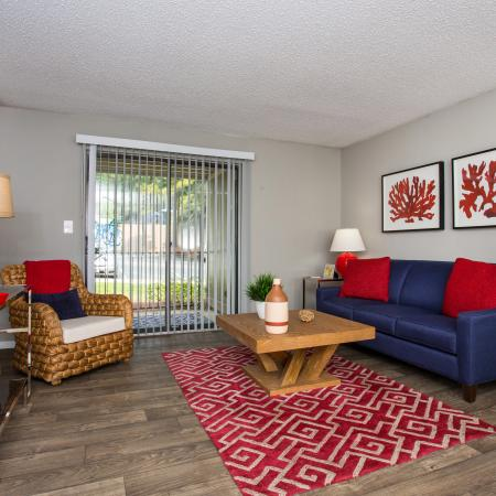 Living Room with vinyl plank flooring and modern furniture
