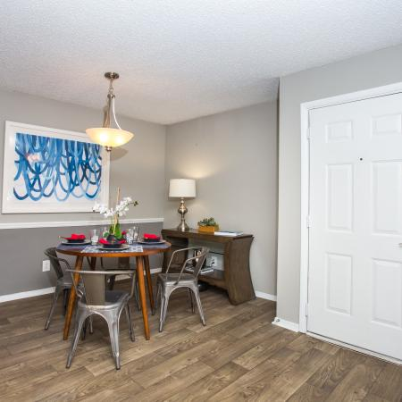 Dining Room with plank flooring