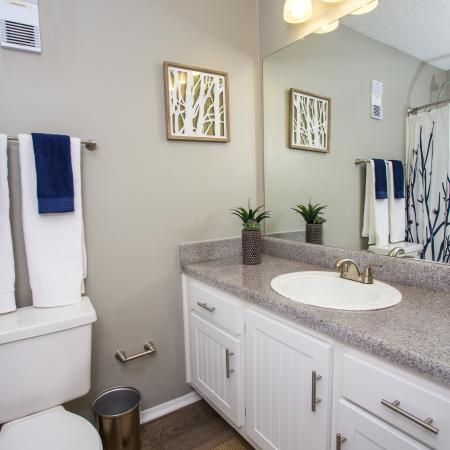 Bathroom with modern fixtures, white shaker cabinets, and light grey walls