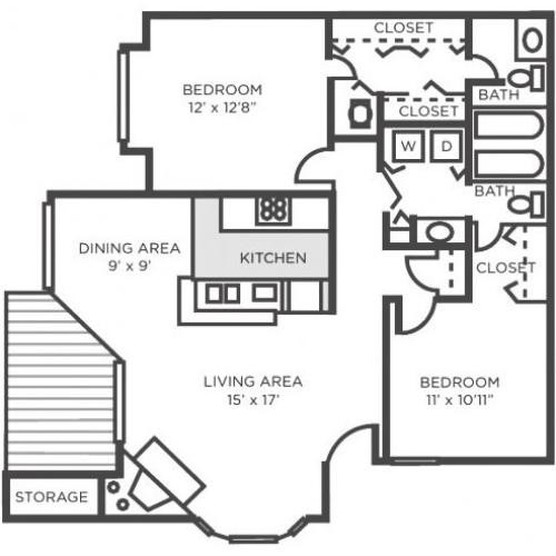 Cypress- Two bedroom Two Bathroom
