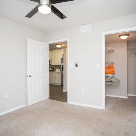 Photo from back corner of bedroom with plush carpeting, with a view of both the walk in closet and living area