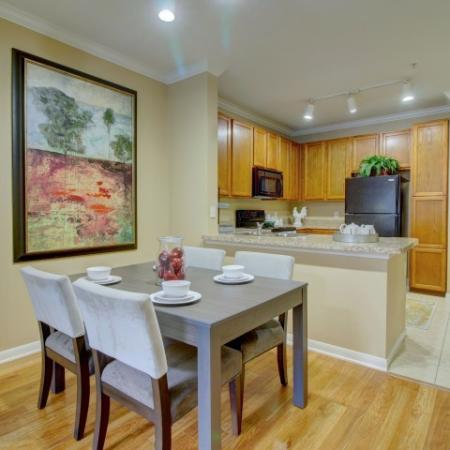 Laminate flooring in the dining room | Apartments | Houston, TX 77043