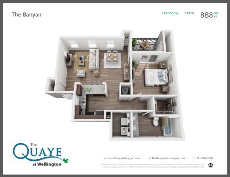 Banyan one bedroom one bathroom 3D floor plan, 888 sq. ft.