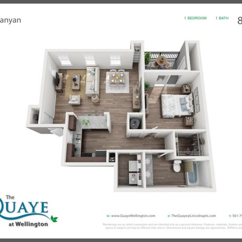 Banyan one bedroom one bathroom 3D floor plan, 888 sq. ft.