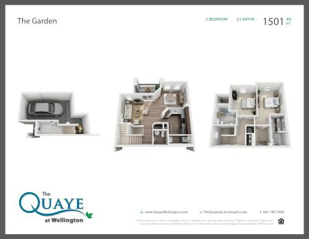 Garden two bedroom two and a half bathroom town home with single car garage 3D floor plan, 1,501 sq. ft.