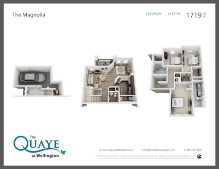 Magnolia three bedroom two and a half bathroom town home with single car garage 3D floor plan, 1,719 sq. ft.