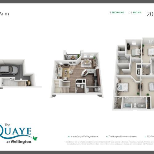 Palm four bedroom three bathroom town home with single car garage 3D floor plan, 2,090 sq. ft.