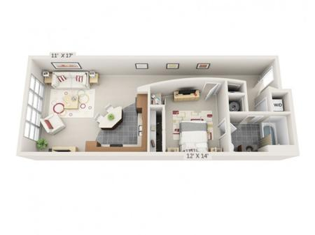 1 Bed 1 Bath Floor Plan A1