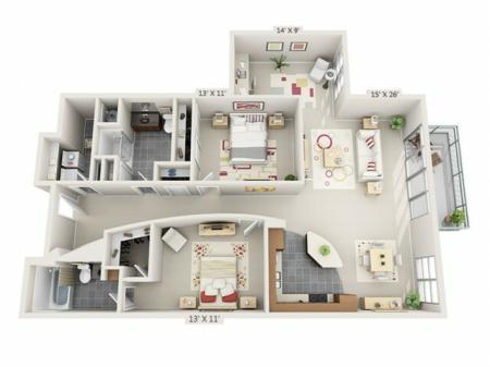 2 Bed 2 Bath Floor Plan B3
