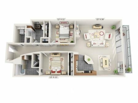2 Bed 2 Bath Floor Plan B4
