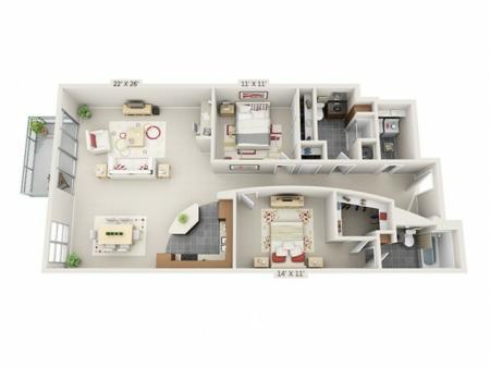 2 Bed 2 Bath Floor Plan B5