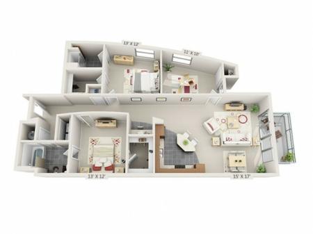 3 Bed 2 Bath Floor Plan C1