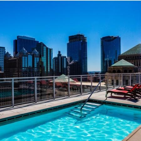 Swimming pool with city views
