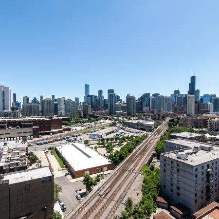 Skyline view of Chicago from Mondial River West