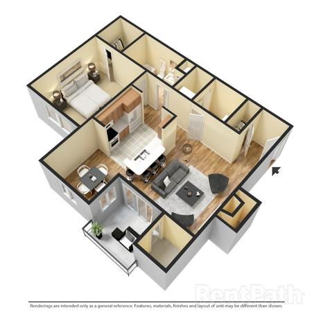 1x1 834 - ONE BEDROOM ONE BATH WITH DEN