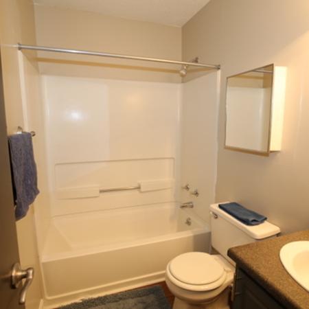Fiberglass tubs & Faux granite vanity tops in the Bathrooms