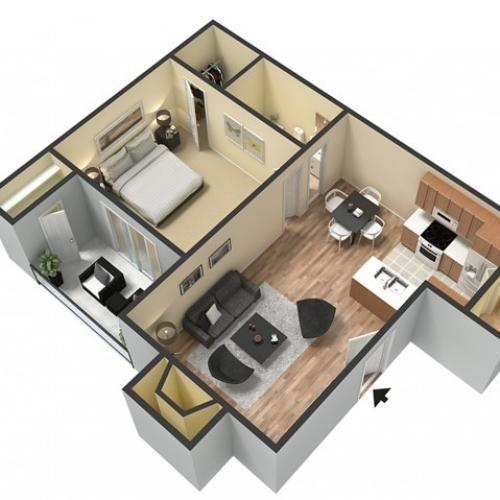 The Spring (703 sq.ft. One Bedroom One Bath)