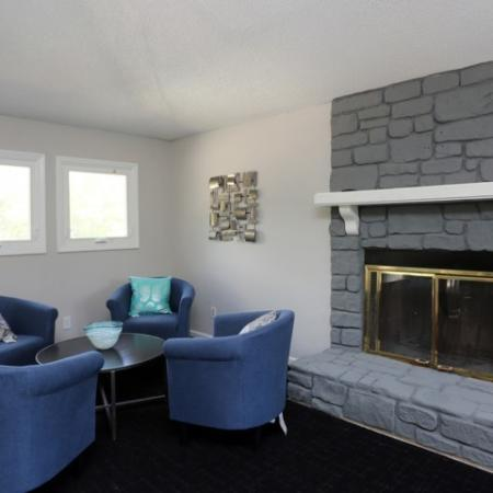 Lounge area with TV and Fire Place where you can sit with Friends at Club House.