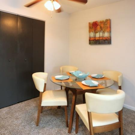Nice sized Dining area with a Ceiling Fan for entertaining.