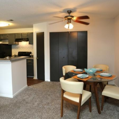 Dinning Room with Ceiling Fan and Utility Closet