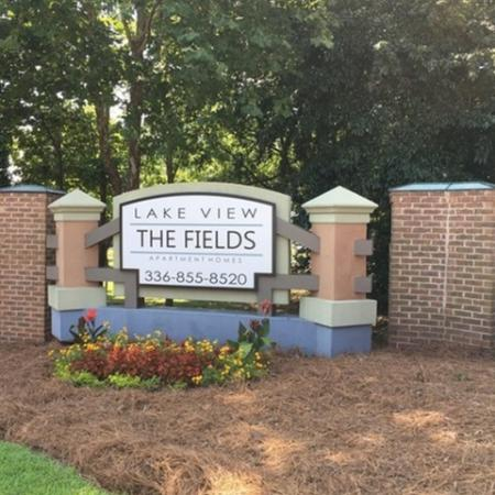 The Fields Lakeview Monument sign leading to the Club House / Leasing Office.