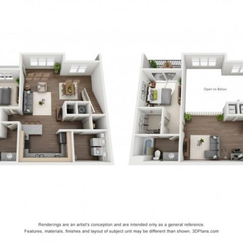 Cole Loft 1482 Square Feet Two Bedroom | Two Bathroom