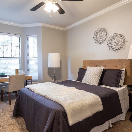 Large Bedroom with Natural Lighting and Ceiling Fan
