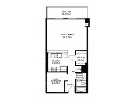 JR One Bedroom Floor Plan