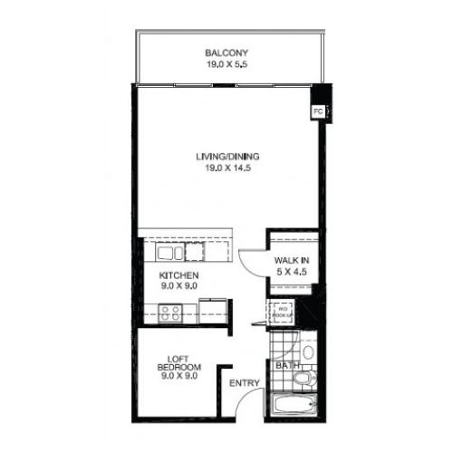 JR One Bedroom Floor Plan