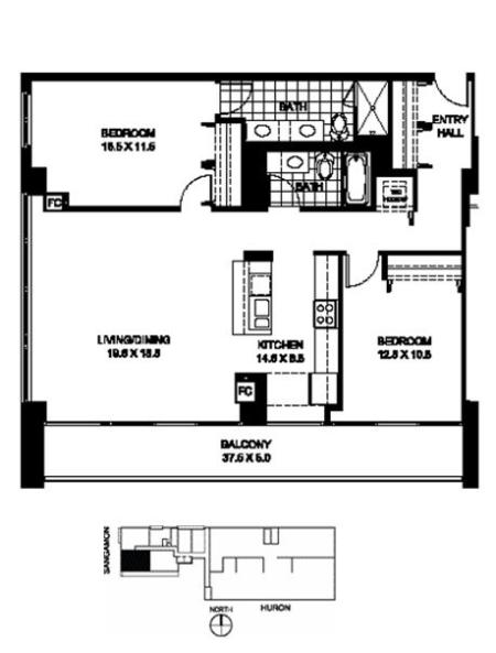 Two Bedroom Two Bathroom Floor Plan B1