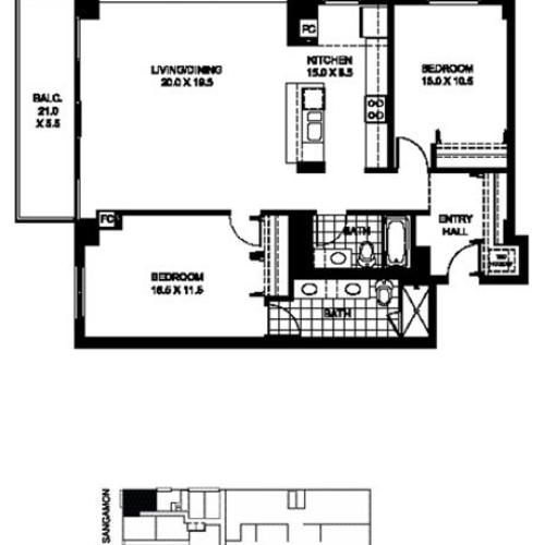 Two Bedroom Two Bathroom Floor Plan B2