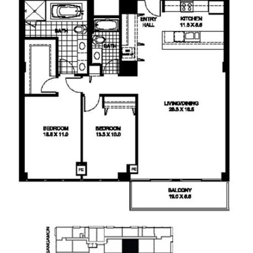 Two Bedroom Two Bathroom Floor Plan B10