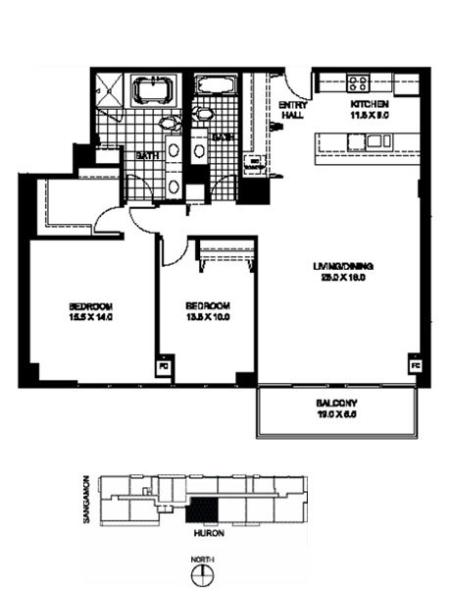 Two Bedroom Two Bathroom Floor Plan B8