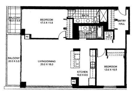 Two Bedroom Two Bathroom Floor Plan Penthouse 1