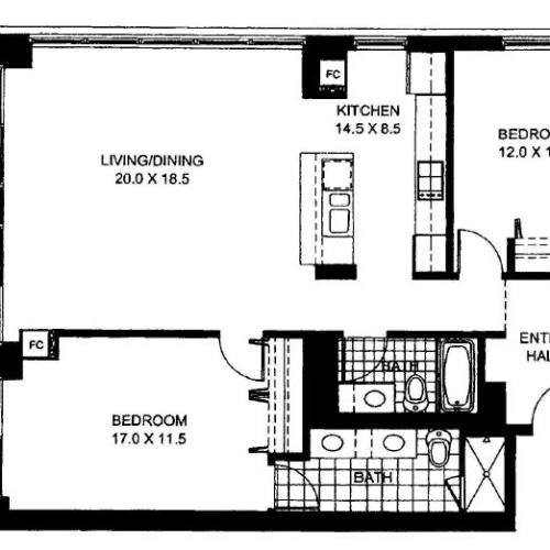 Two Bedroom Two Bathroom Floor Plan Penthouse 2