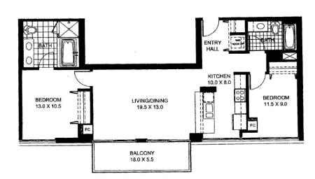 Two Bedroom Two Bathroom Floor Plan Penthouse 6