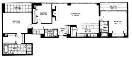 Three Bedroom Two Bathroom Floor Plan Penthouse 8 (1408)