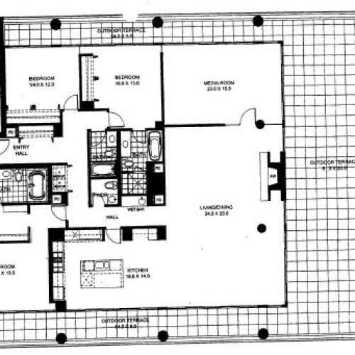 Three Bedroom Two Bathroom Floor Plan Penthouse 9 (1409)