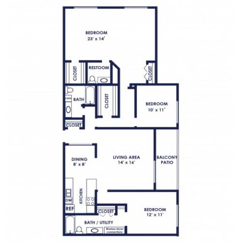 Three bedroom two bath