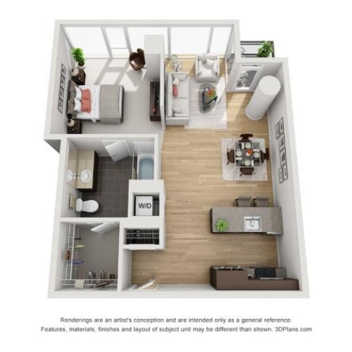 1 Bed 1 Bath Floor Plan 1p1