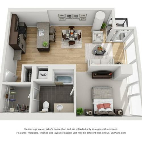 1 Bed 1 Bath Floor Plan 1p4