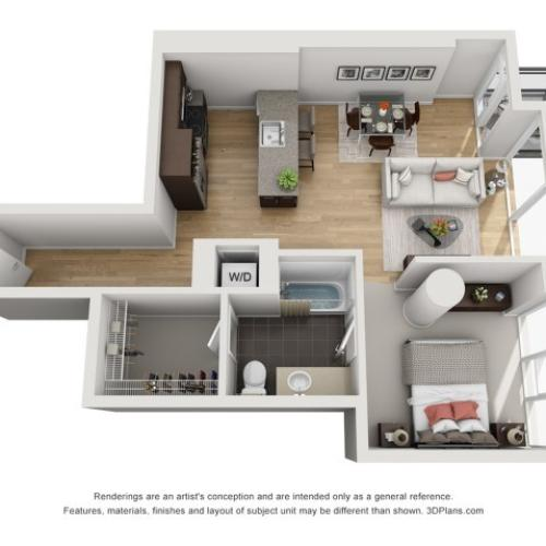 1 Bed 1 Bath Floor Plan 1o