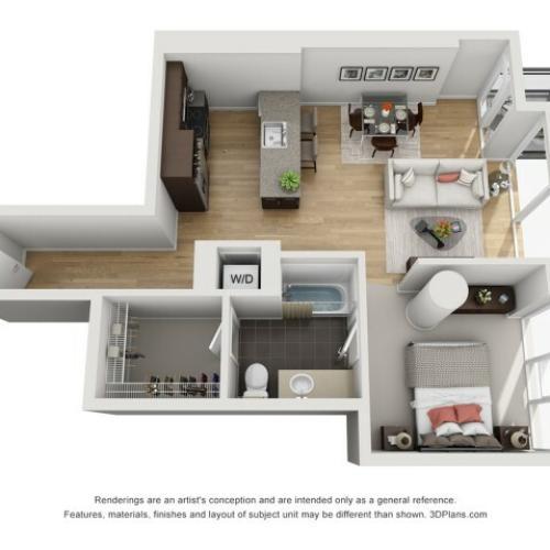 1 Bed 1 Bath Floor Plan 1o