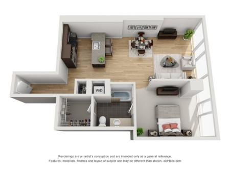 1 Bed 1 Bath Floor Plan 1t